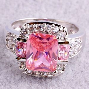 Stunning Emerald Cut Pink Topaz Ring